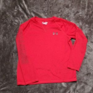 UNDER ARMOUR RED WAFFLE LONG SLEEVED SHIRT TOP